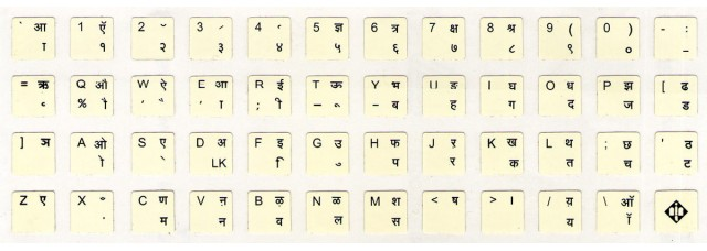 Keyboard Stickers (Devnagari Language - Inscript Layout)